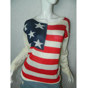 The Classic Pullover Sweater American Flag Knit L